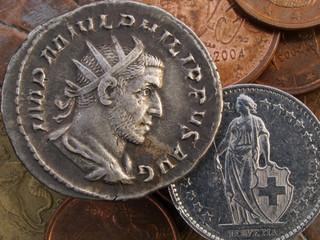 Ancient Roman & modern Swiss coin