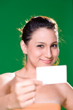 friendly smile bussiness woman holding business card
