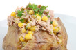 Baked potato with tuna, sweetcorn and mayonnaise