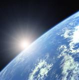Fototapete Erdball - Erde - Sonnenauf- / untergang