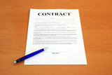 Contract document with blue pen (fictitious legal text) poster