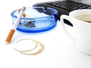 Coffee, cigarette and keyboard