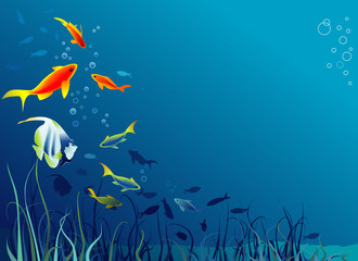 Sea life. Fish, seaweeds. Space for text. Vector illustration