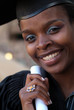 African American college student graduating with mortarboard