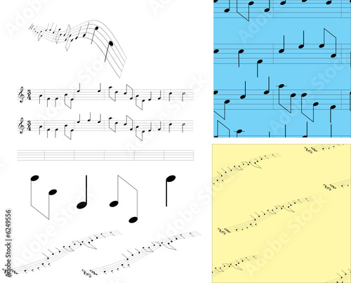 Set music notes and symbols