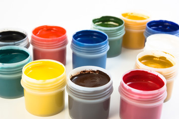 set of the watercolor gouache paints at the white background