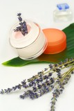 Moisturizing face cream with lavender poster