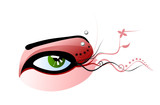 Vector green eye with red make-up and pierced eyebrow poster