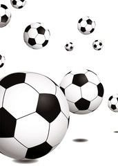 Collection of footballs bouncing