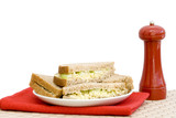 Cheese & celery sandwich with red napkin and pepper grinder poster