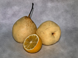 Fruit on a gray background