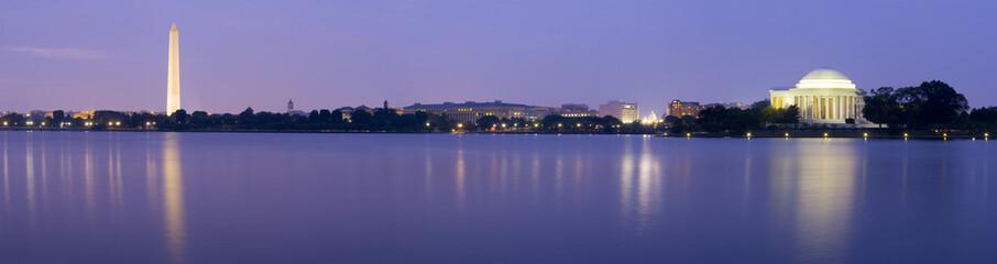 Panoramic of the Washington & Jefferson Memorials at night