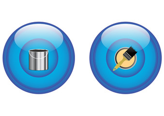 paint bucket and paintbrush icons