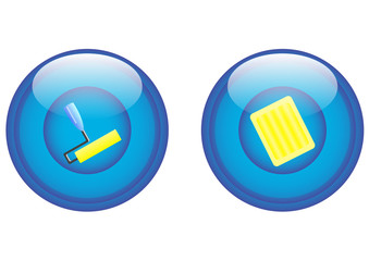 paint roller and tray icons