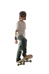 A young girl on a skateboard