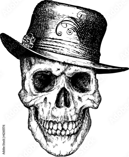 Pimp skull illustration