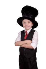 Young boy dressed as a magician