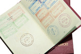 Passports and entry stamps - isolated