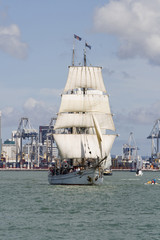 Tall Ship - A  Brigantine Bow On