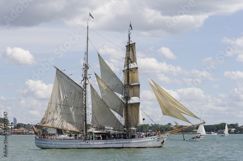 Tall Ship - A  Brigantine Side On