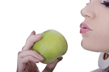 Cute lady about to kiss an apple