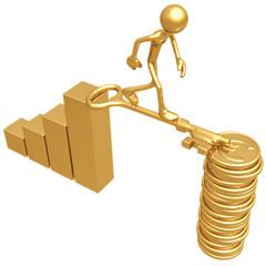 Golden Key Bridge Between Bar Graph And Euro Coins