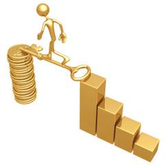 Golden Key Bridge Between Bar Graph And Dollar Coins