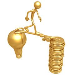 Golden Key Bridge Between An Idea And Dollar Coins