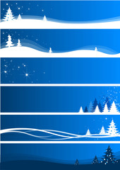 Set of six blue abstract christmas banner