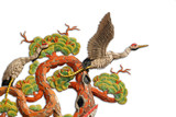 Asian temple crane motif on white background poster