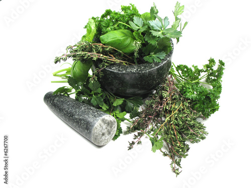 green herbs in mortar
