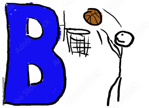 A childlike drawing of the letter B colored Blue