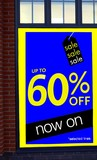 sale. sign.up to 60 % off now on selected lines/items poster