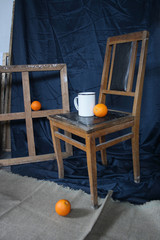 Oranges in a workshop of the artist