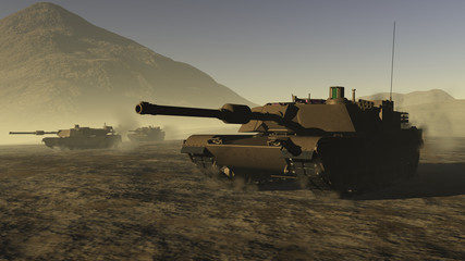 US Battle Tanks in a desert