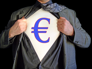 A business man opens his shirt to reveal a  euro dollar sign