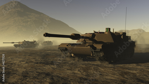 Leinwandbild Motiv US Battle Tanks in a desert