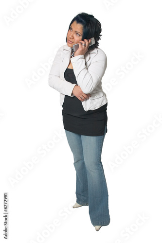 Hispanic Woman Talking on the Cell Phone