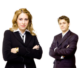 Young confident business couple