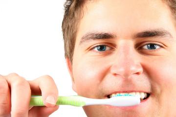 washing teeth