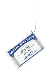 Social security card on a fishing hook and line