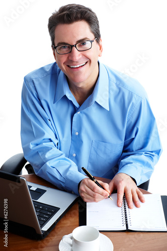 business man  working with laptop. Over white background.
