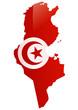 Carte de la Tunisie (Drapeau reflet métal)