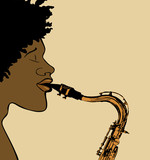 Afro-american saxophone player poster