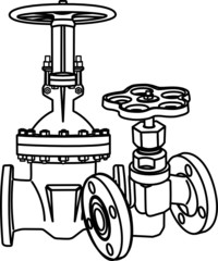 Contour of valve. Vector illustration