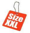 XXL Size Tag isolated on white background,