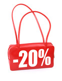 red leather handbag with sale sign on white background,  poster