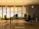 Interior of the modern cabinet for negotiations 3D rendering poster