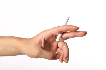 cigarette in girl hand risk concept