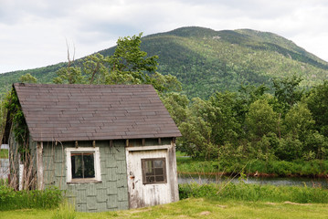 Shed near mountain